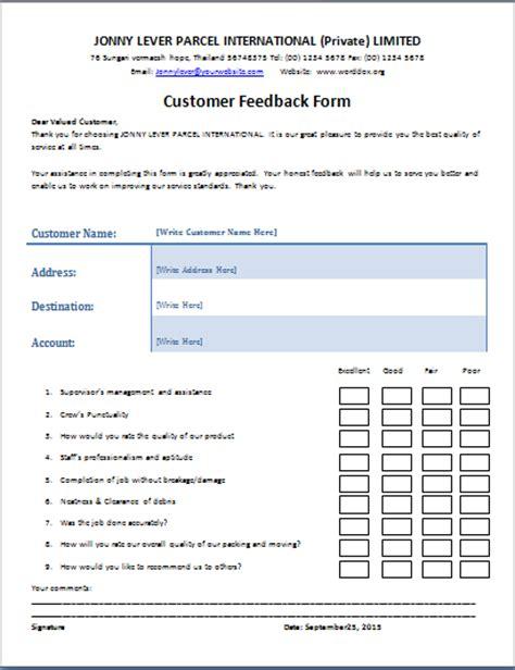 feedback template ms word customer feedback form word document templates