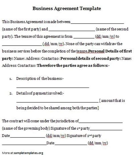 business agreement business agreement template
