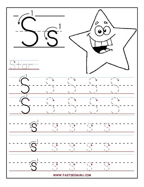 printable letter s tracing worksheets for preschool for