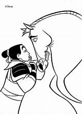 Mulan Khan Coloring Stallion Handsome Hellokids Disney sketch template