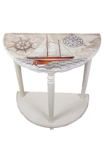 Half Round Nautical Accent Table   Globe Imports