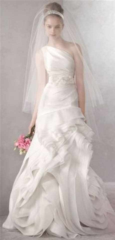 Vera Wang Ivory Organza One Shoulder Fit And Flare