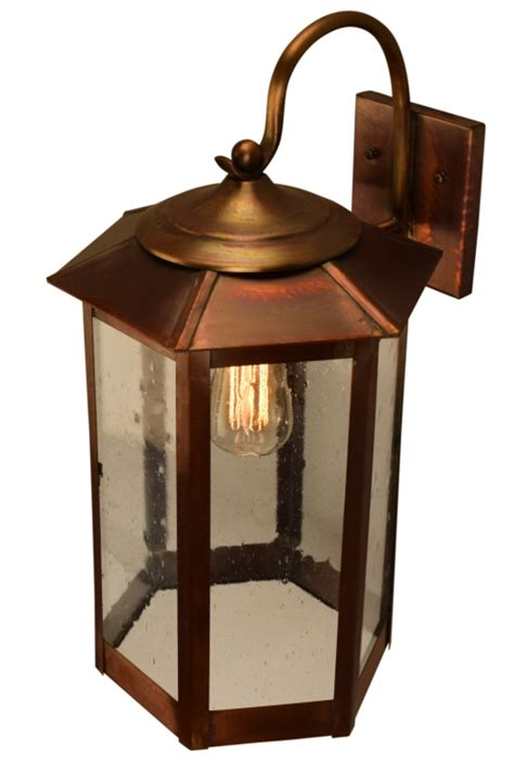 baja mission style outdoor wall light with bracket copper
