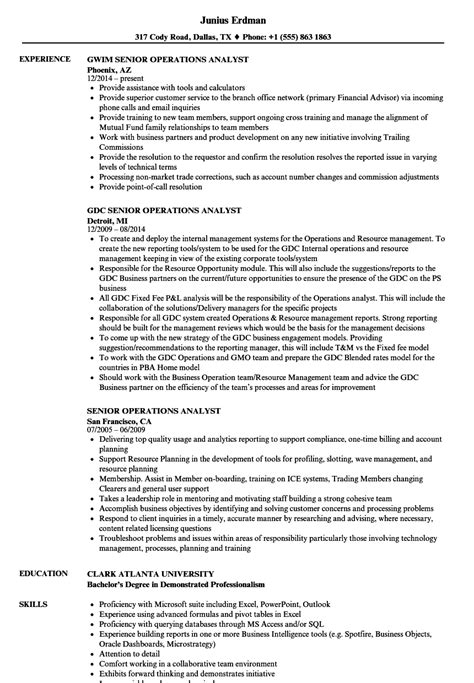 Senior Credit Analyst Resume by Senior Operations Analyst Resume Sles Velvet