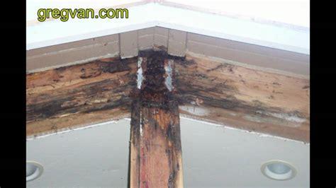 roof ridge beam water damage  poor roofing