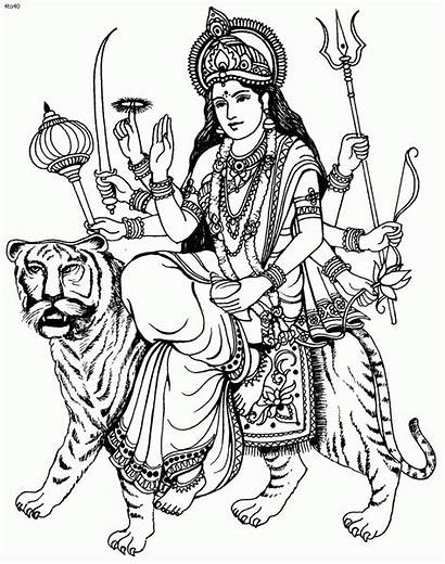 Durga Maa Coloring Clipart Pages Cliparts Clip
