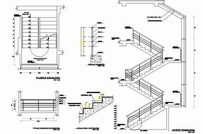 Stair Dwg Section Plan Cadbull Riser