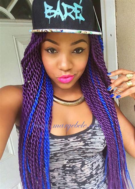 box braids extensions bright colours blue purple african