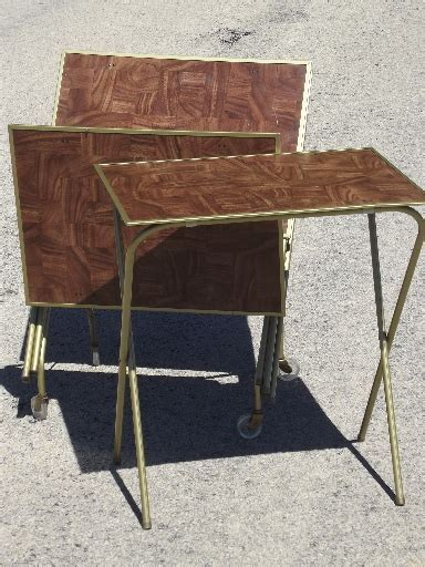 Vintage TV trays table set, mid century retro folding tray