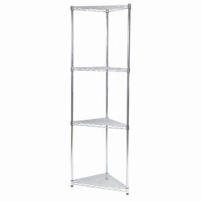 Corner Shelf Unit Chrome Steel Storage Adjustable