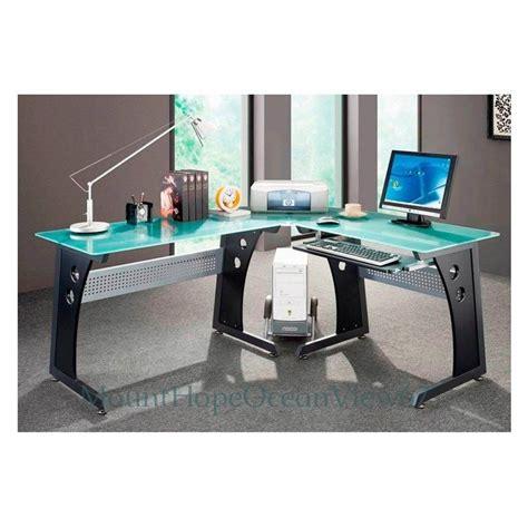 Glass Top Computer Desk Modern Graphite Corner Gaming Home
