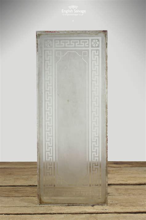 acid etched greek key  patterned glass panel