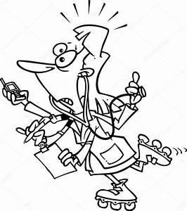 Cartoon Busy Doctor — Stock Vector © ronleishman #13951570