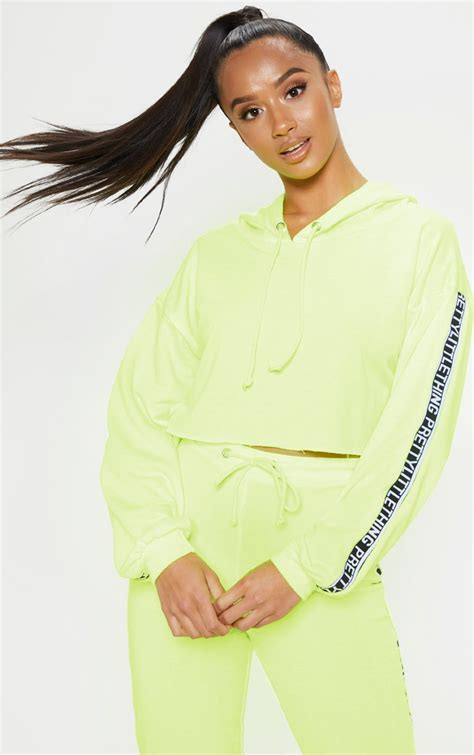 The Prettylittlething Petite Neon Lime Cropped Hoodie ...