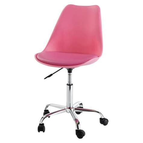 chaise de bureau 224 roulettes rose bristol maisons du monde