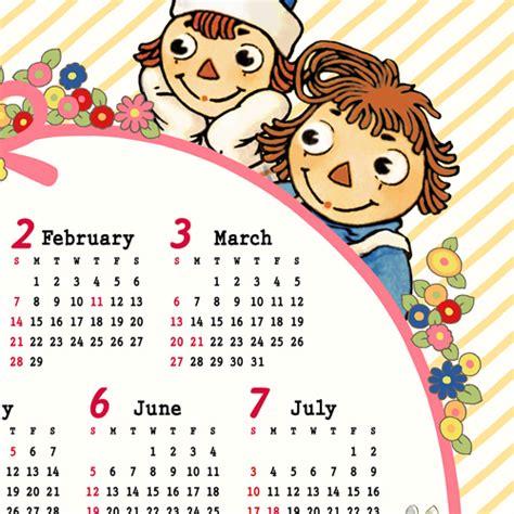 Raggedy Ann & Andy 2016 Cloth / Fabric Calendar from Japan