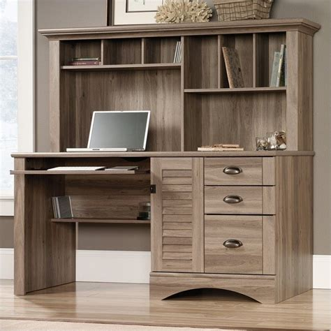 Sauder Harbor View Desk by Sauder Harbor View Computer W Hutch Salt Oak Home Office