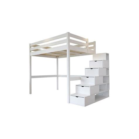 lit mezzanine sylvia 120x200 escalier cube achat