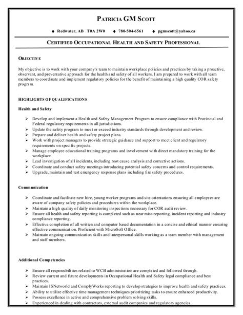 patrica health safety resume