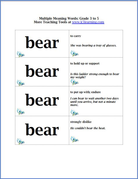 multiple meaning words flashcards for grade 3 to 5 students