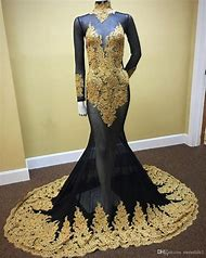 Plus Size Black and Gold Prom Dress