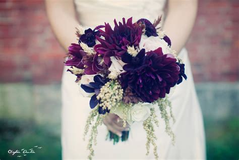 deep purple dahlia wedding bouquet  fall
