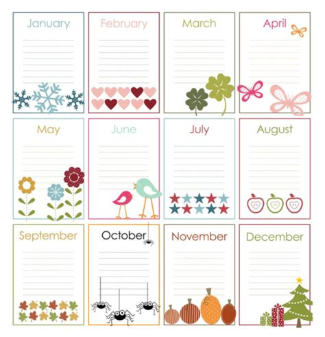 printable birthday chart template printable pages
