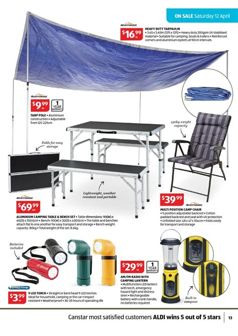 Camping Bench by Aldi Catalogue April Special Buys Page 13