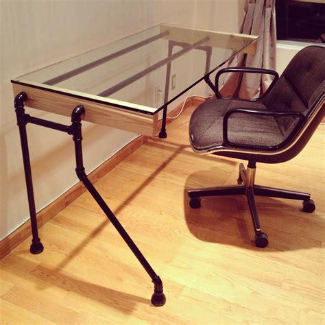 black iron pipe desk wood pipe bent leg desk