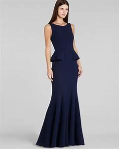 lyst bcbgmaxazria gown francesca peplum in blue With bcbg max azria robe