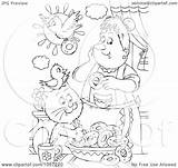 Outline Coloring Cat Bird Donuts Royalty Clip Making Illustration Clipart Bannykh Alex Copyright Background sketch template