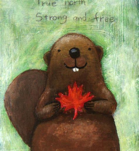 original illustration painting canadian beaver  maple