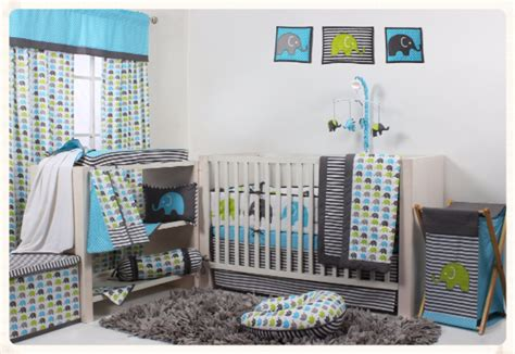 bacati elephants aqua lime grey 10 pc crib set including