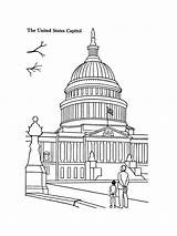 Coloring Capitol Building Printables Template sketch template