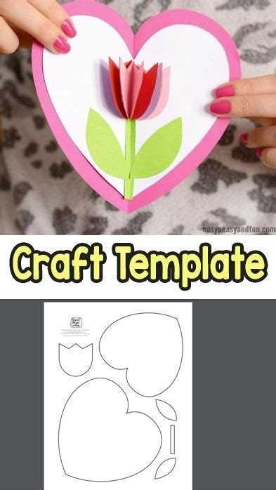 tulip   heart card mothers day crafts  kids