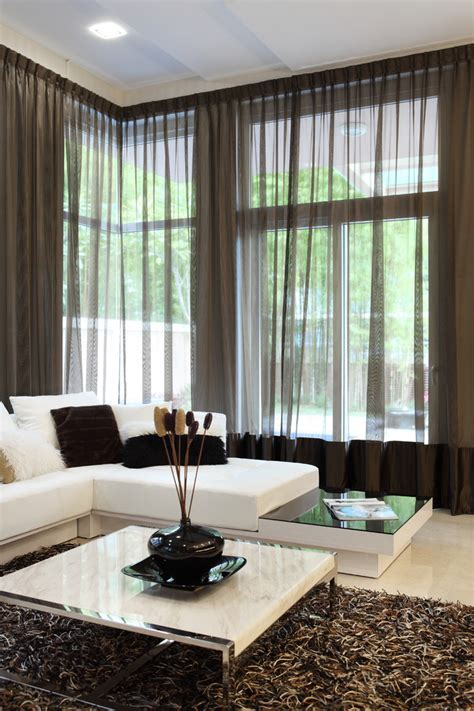 living room curtain designs Dining Room Contemporary with