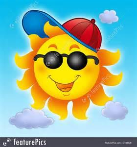 Blue Light Protection Glasses by Summer Season Cartoon Sun In Cap On Blue Sky Stock