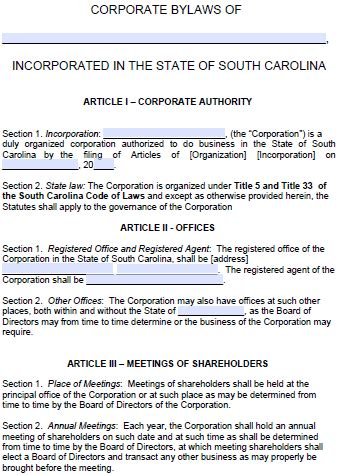 south carolina corporate bylaws template  word