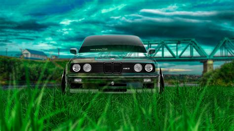 «bmw-m3-e30-front-crystal-nature-car-2014-green-grass-hd