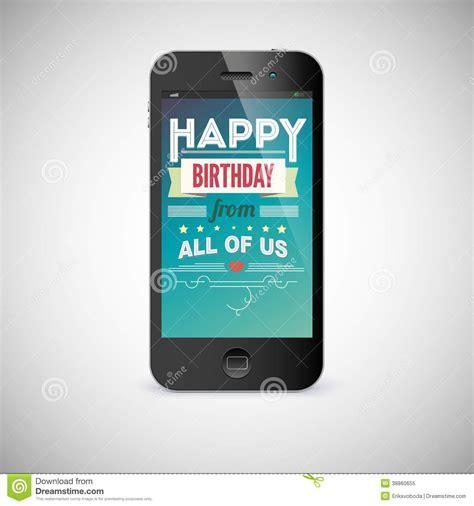 birthday greeting card  screen  mobile phone stock