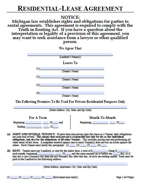 michigan month  month lease agreement template