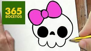 COMO DIBUJAR CALAVERA KAWAII PASO A PASO Dibujos kawaii faciles How to draw a Skull