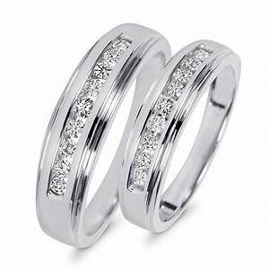 38 Carat TW Diamond His And Hers Wedding Band Set 10K