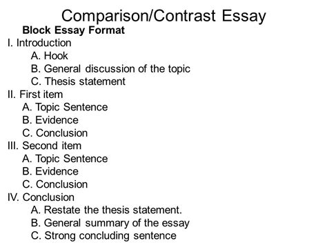 compare and contrast essay template writing portfolio with mr butner ppt