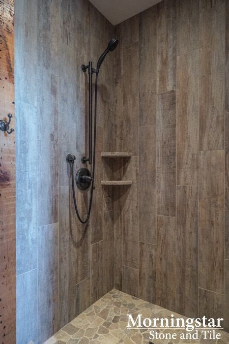 shower stall  wood  tile    rustic