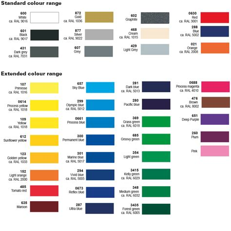 ral design fã cher colour list