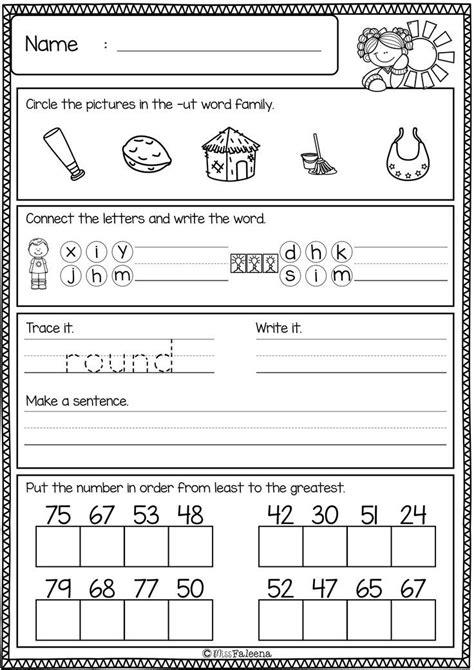 printable worksheets  kids st grade schematic