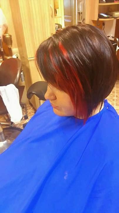 short dark brown hair  red streaks hairstyles