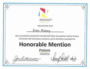 Neuhoff honorable mention award for Honorable mention certificate