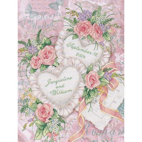 shop  hearts united wedding record stamped cross stitch